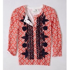 Anthropologie Embroidered Printed Cardigan Tabitha